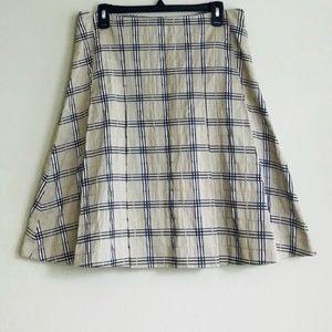 Burberry Plaid  Tan & Black skirt size 6